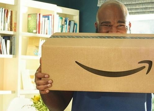 happy amazon customer receives amazon box delivery